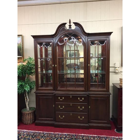 Modern Ethan Allen Full Bonnet Solid Cherry China Cabinet For Sale - Image 3 of 12