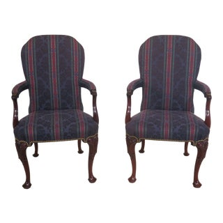 1990s Vintage Kindel Carved Mahogany Upholstered Arm Chairs- A Pair For Sale