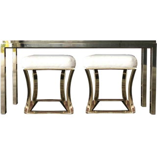 1970s Hollywood Regency Brass Console Table and Stools Set - 3 Pieces For Sale