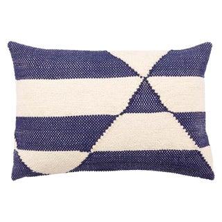Nikki Chu by Jaipur Living Otway Cream/ Blue Geometric Poly Throw Pillow For Sale