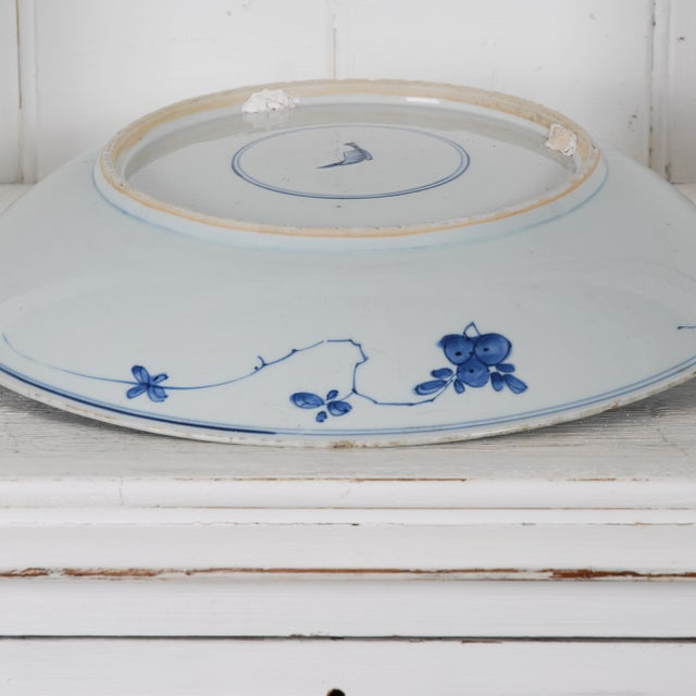 17th Century Antique Chinese Porcelain Blue and White Deep Charger Bowl Ceramic For Sale - Image 11 of 12