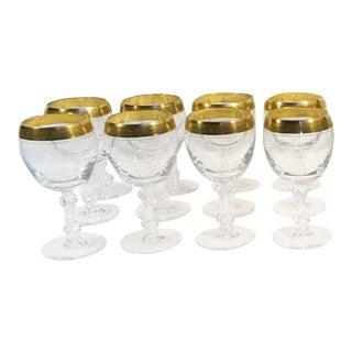 Tiffin Franciscan Westchester 22k Gold Rim Wine Glasses - Set of 8