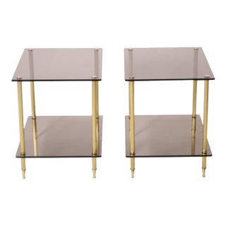 Contemporary Glass and Smoked Brass Tables - a Pair For Sale