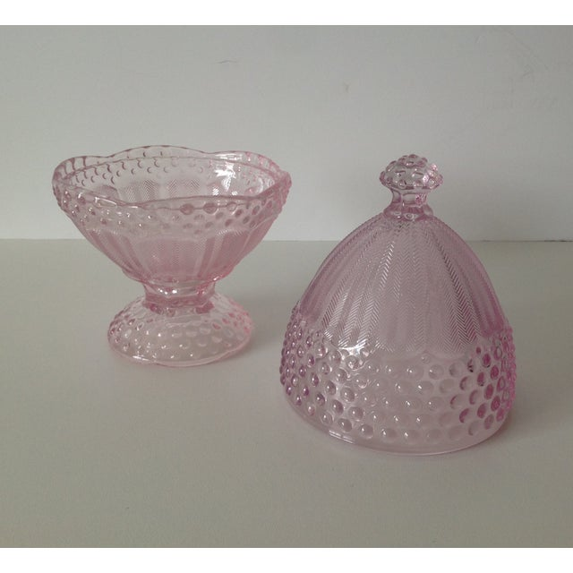 Pink Dome-Lidded Hobnail Candy Dish - Image 7 of 8