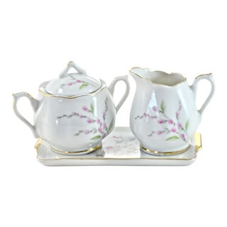 Pink Floral Cream & Sugar - Set of 3 For Sale