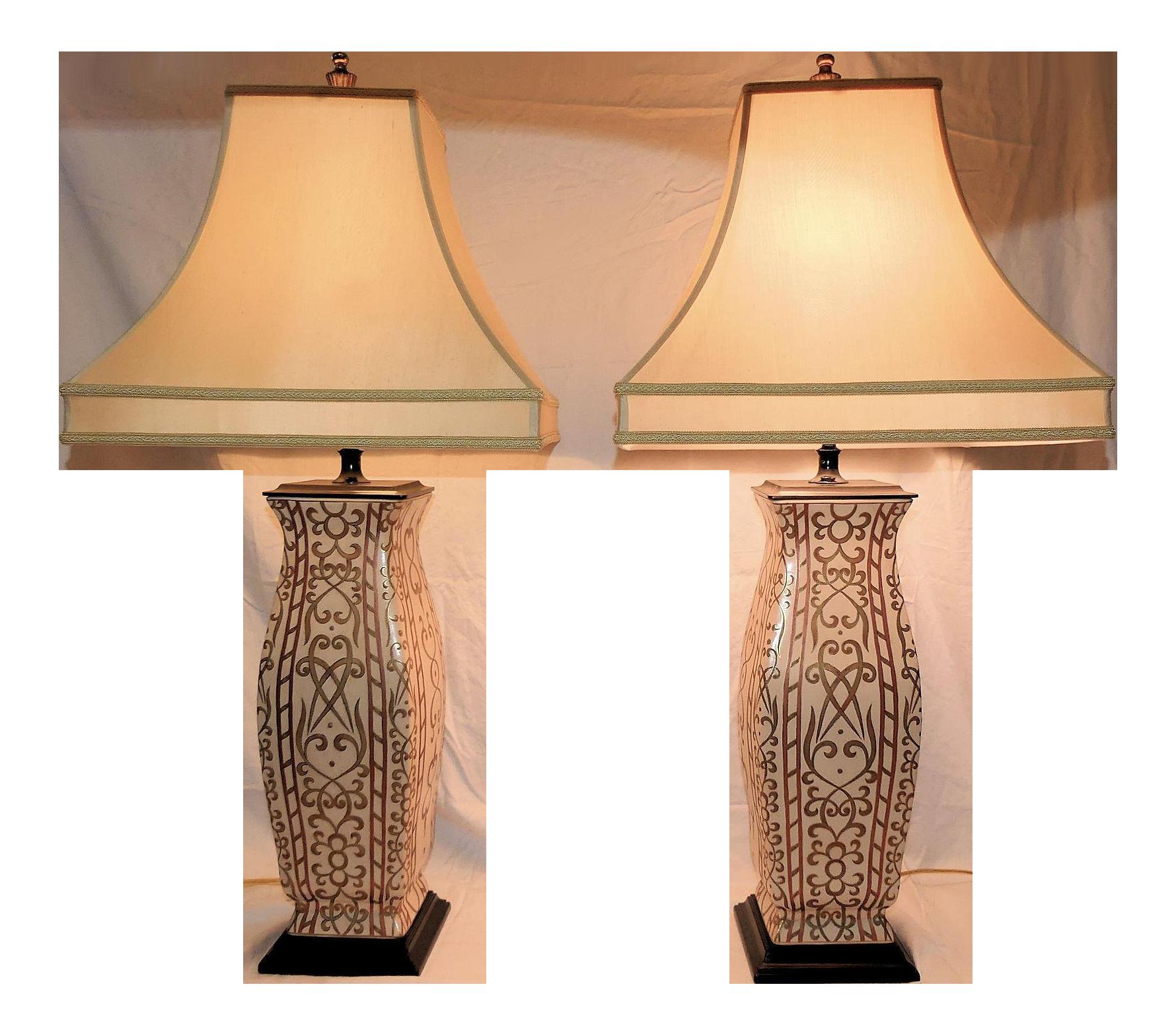 John Richard Paint Decorated Porcelain Table Lamps A Pair Chairish