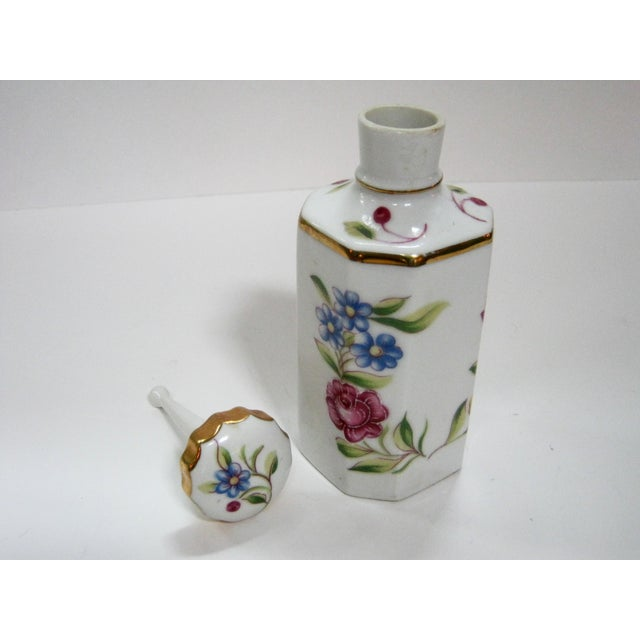 Antique Hand Painted Floral German Perfume Bottle / Decanter For Sale - Image 4 of 6
