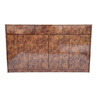 Tall Vintage Modern Sideboard or Buffet in Faux Burl Finish For Sale
