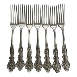 1906 Antique Charter Oak Pattern Rogers Bros Triple Plate Forks - Set of 7 For Sale