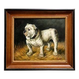 "Vintage Southern Classic ""Georgia"" Bulldog Oil Painting For Sale"