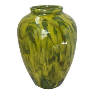 1970s Vintage Green Ceramic Vase For Sale