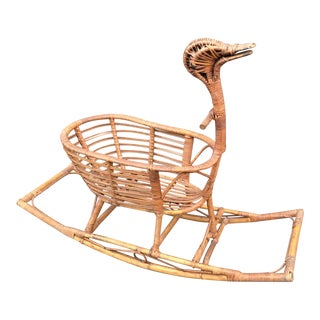 1960s Childs Rattan Rocking Duck For Sale