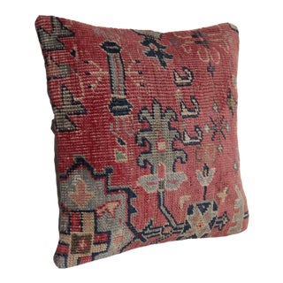 Vintage Oushak Rug Pillow Cover For Sale
