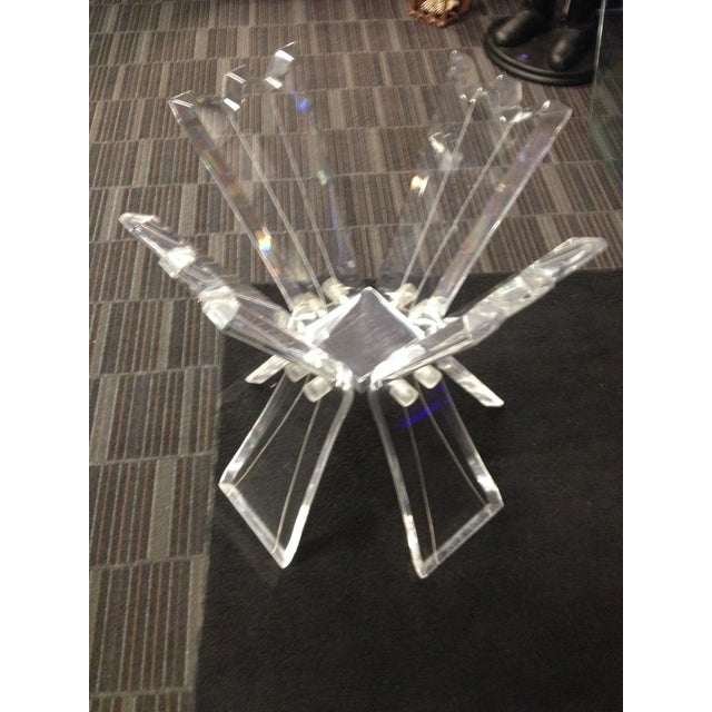 Mid-Century Crystal Lucite Sculptural Dining Table - Image 3 of 6