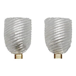 Pair of Ribbed Murano Glass and Brass Sconces