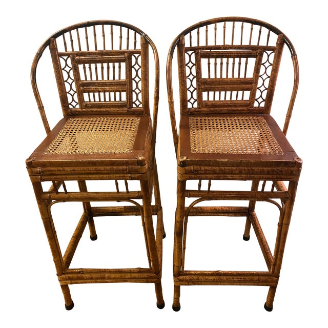 1970s Vintage Brighton Pavilion Bamboo and Cane Stools- a Pair For Sale
