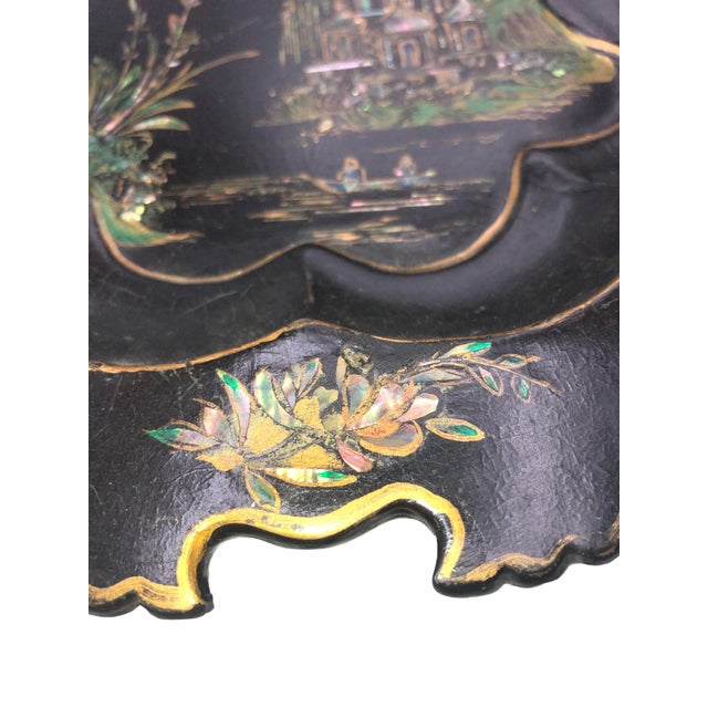 Antique English Paper Mache With Mother of Pearl Plate For Sale - Image 4 of 7