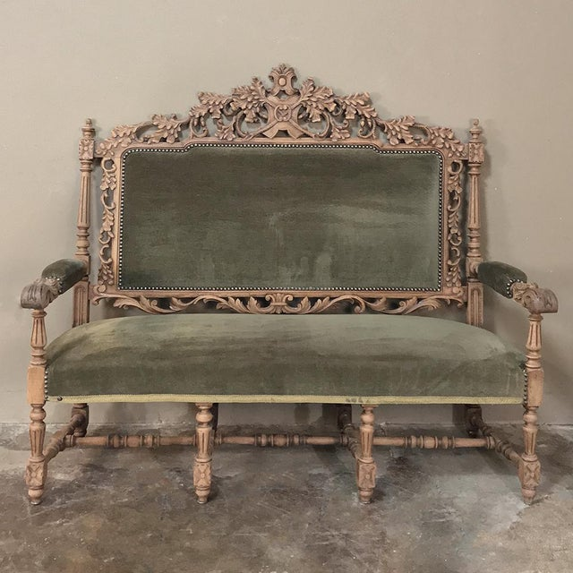 19th Century Black Forest Stripped Oak Hunt Sofa For Sale - Image 13 of 13