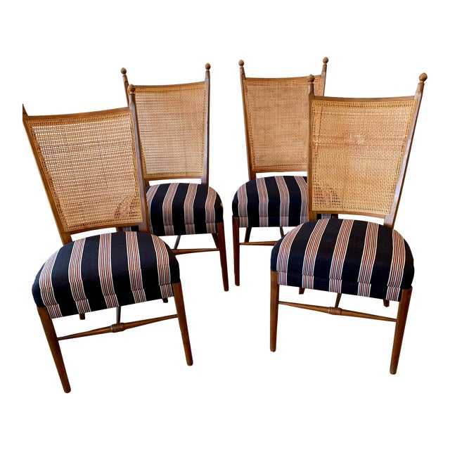 Vintage French Cane Back Chairs With Upholstered Seats - Set of 4 For Sale