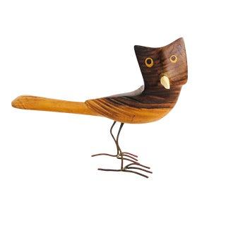Vintage Carved Wood Owl For Sale