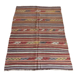 1950s Handmade Turkish Striped Design Floor Kilim Rug For Sale