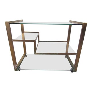 Italian Modern Brass Serving Cart For Sale
