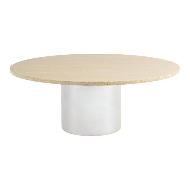 Mid-Century Modern Travertine & Chrome Coffee Table For Sale