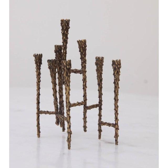 Brutalist 1960s Brutalist Candleholder Menorah For Sale - Image 3 of 3