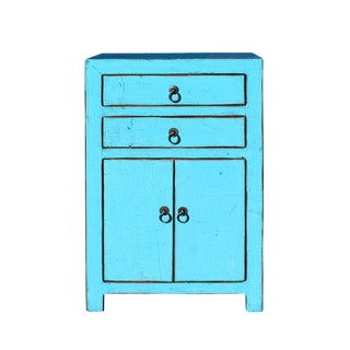 Distressed Pastel Blue Lacquer Two Drawers End Table Nightstand For Sale