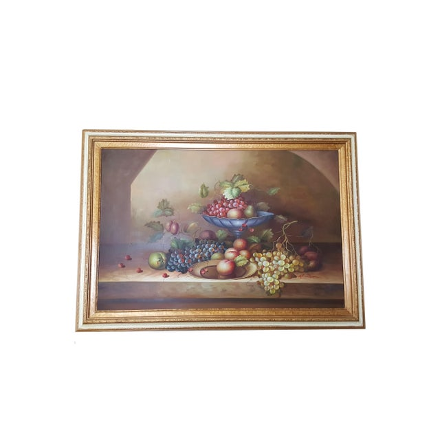 Blue Large Still Life Oil Painting on Canvas Signed M. Aaron For Sale - Image 8 of 8