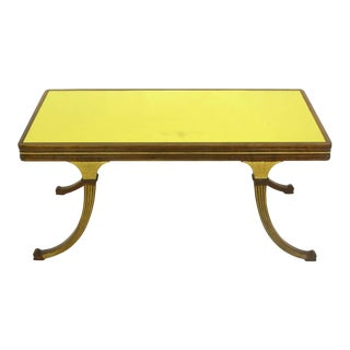 Early 1900s Parcel-Gilt and Walnut Empire Coffee Table with Gold Mirror Top