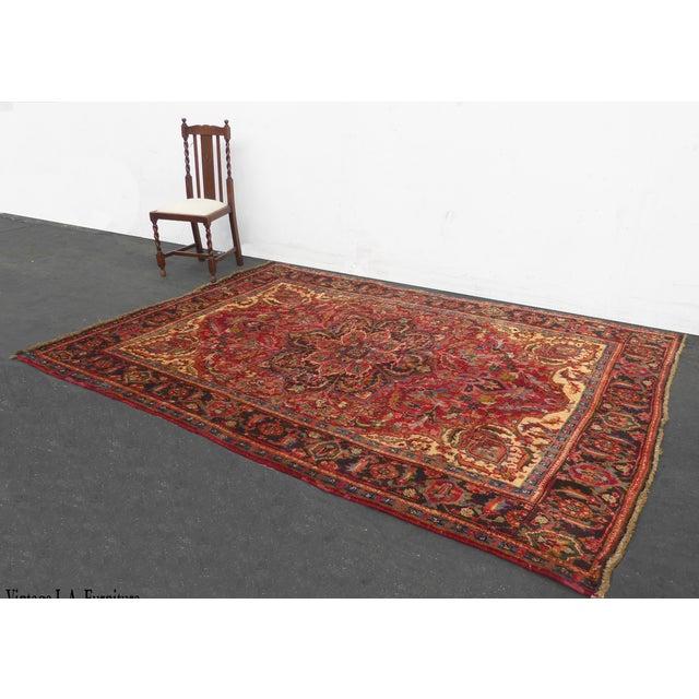 Vintage Red Floral Design Persian Rug - 7′ × 9′ For Sale - Image 9 of 9