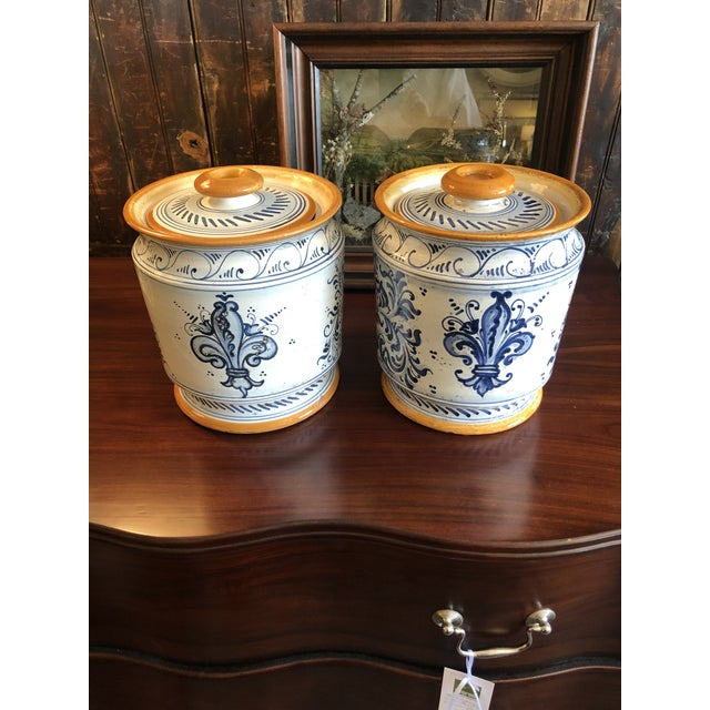 Provencal Ceramic Painted Lidded Apothecary Jars -A Pair For Sale - Image 11 of 13