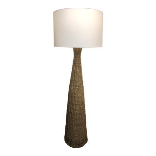 Mid 20th Century Tall Wicker Floor Lamp With Shade For Sale