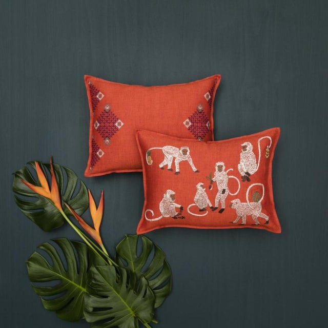 Monkey Business Vermilion Pillow - Image 2 of 3