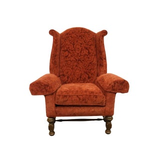 Late 20th Century Vintage Sherrill Furniture Red Upholstered Wingback Accent Arm Chair For Sale