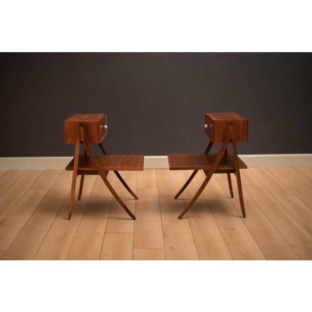Mid-Century Modern Mid Century Walnut Floating Nightstands by Drexel Declaration For Sale - Image 3 of 13