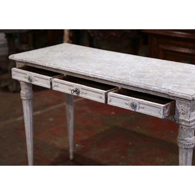 19th Century French Louis XVI Carved Painted Table Console For Sale - Image 12 of 13