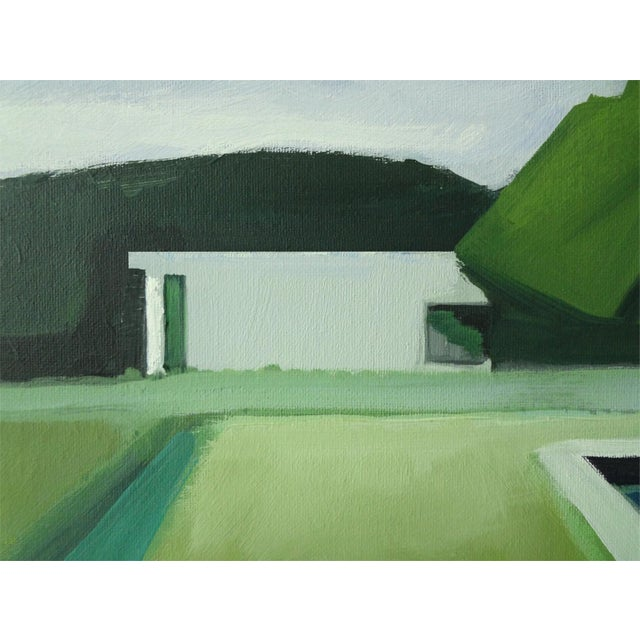 """Abstract Landscape Poolside Painting - 30"""" x 40"""" - Image 4 of 5"""