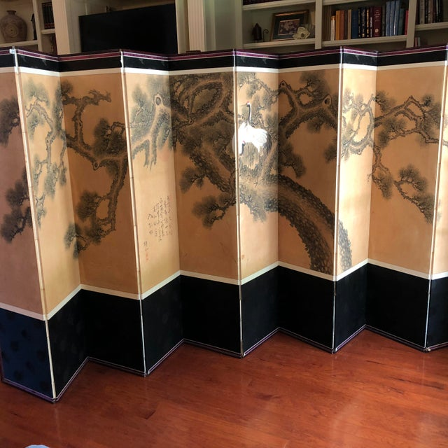 This unique room divider is a vintage Japanese hand painted canvas beautifully displaying graceful red-crowned cranes with...
