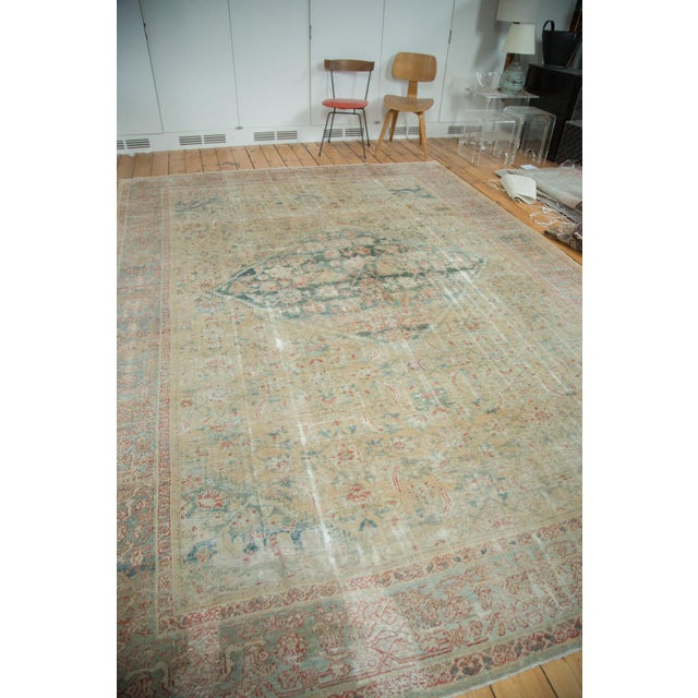 """Distressed Antique Sultanabad Carpet - 9' X 12'5"""" For Sale - Image 4 of 10"""