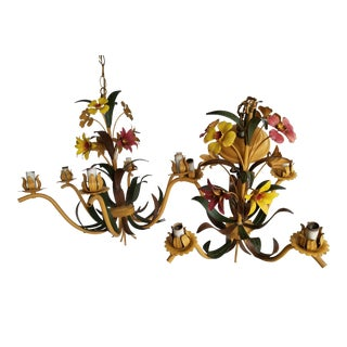 Italian Floral Tole Chandeliers - a Pair