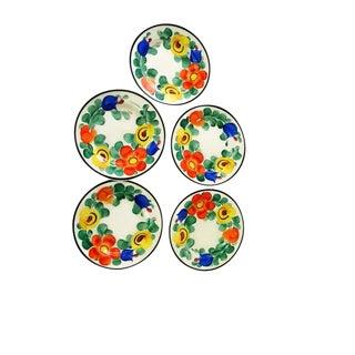 1950s Folk Art Czechoslovakian Desert Plates - Set of 5