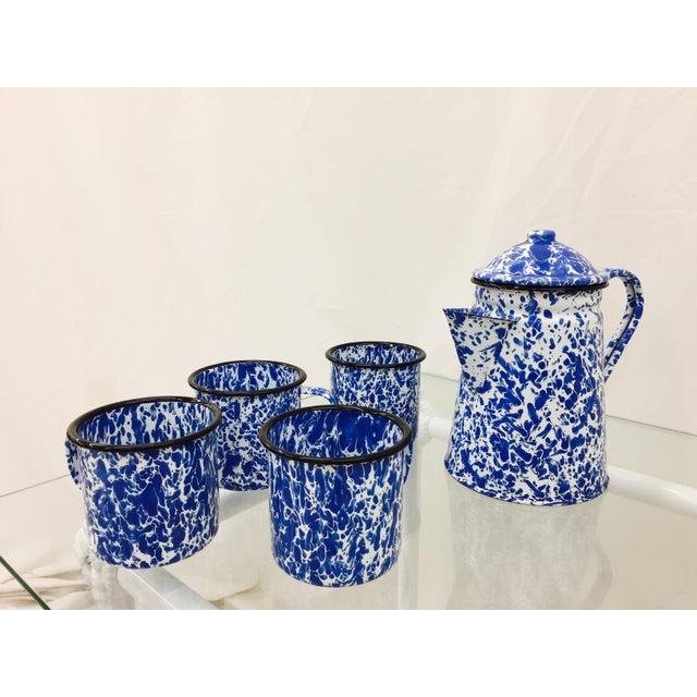 Blue & White Paint Splattered Enamel 5-Piece Tea Set For Sale - Image 5 of 11