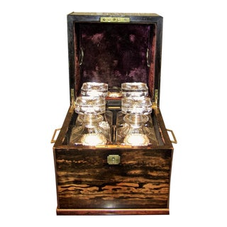 19c Irish Coromandel Wood Campaign Decanter Box With Irish Crystal Decanters