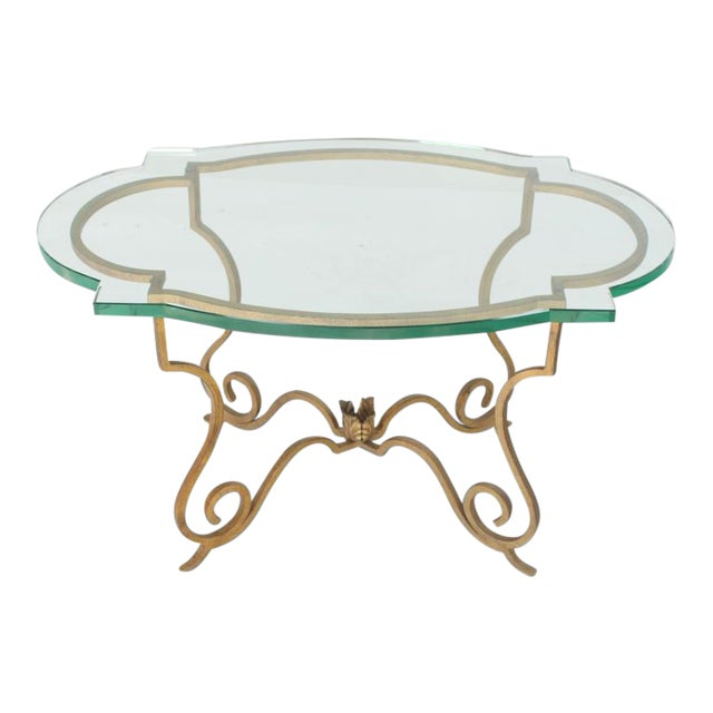 Mid Century Vintage Forged Gold Gilt Iron Base Figural Glass Oval Table For Sale
