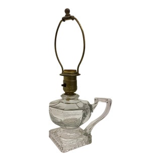 Greek Key Pressed Glass Electrified Oil Lamp For Sale
