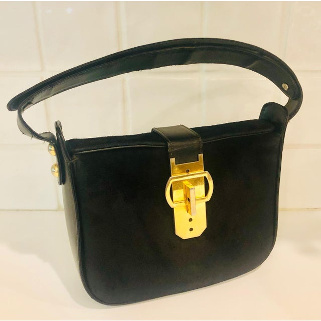 1980s Saks Fifth Avenue Suede and Leather Shoulder Bag For Sale - Image 12 of 13