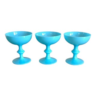 Portieux Vallerysthal Blue Opaline Champagne Coupes- Set of 3 For Sale
