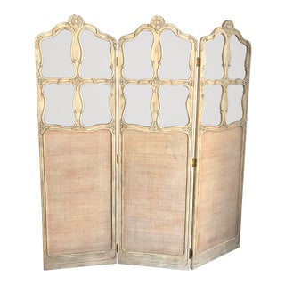 Trifold Wood, Cane and Glass Room Screen For Sale